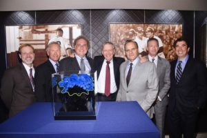 Left to Right: Green Sports Alliance COO, Justin Zeulner; Chair of Green Sports Alliance, Scott Jenkins; President of the New York Yankees, Randy Levine; Commissioner Emeritus of Major League Baseball, Allan H. (Bud) Selig; Legendary former MLB player and former New York Yankees Manager, Joe Torre; Yankees Vice President of Stadium Operations, Doug Behar and President of Green Sports Alliance Allen Hershkowitz
