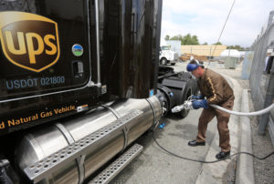 Joe McGinn, a UPS driver, fills up his truck with liquid natural gas in Ontario. Credit J. Emilio Flores for The New York Times