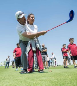 Jose Maria Olazabal coaches pupils from Al Sidra Academy at QIGC