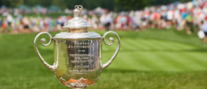 LOUISVILLE, KY - AUGUST 10: The Wanamaker trophy on the 1st tee during the Final Round of the 96th PGA Championship, at Valhalla Golf Club, on August 10, 2014 in Louisville, KY. (Photo by Montana Pritchard/The PGA of America)