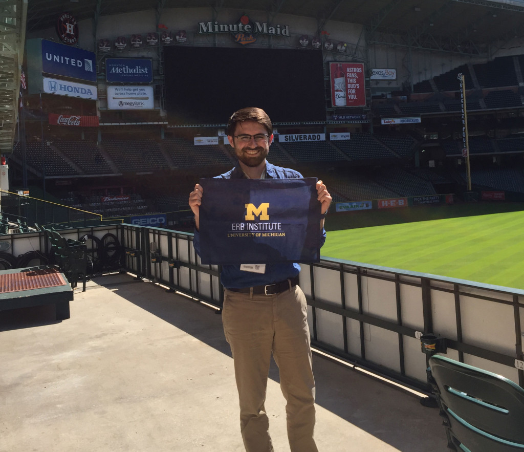 Sean Pavlik (Erb 2018) at the 2016 Green Sport Alliance Summit at Houston's Minute Maid Park.