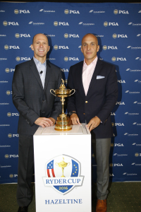 Joe Nigro (l), CEO of Constellation, and Pete Bevacqua, CEO of the PGA of America flank the Ryder Cup at the New York City press conference at which they announced their multi-year sustainability partnership. (Photo credit: PGA of America)