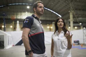 Sir Ben Ainslie and Leilani Münter discuss pre-race tactics in advance of the Louis Vuitton America's Cup World Series event in Chicago in June. (Photo credit: HarryKH/Land Rover BAR)