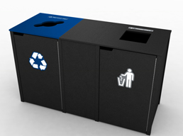 In the upcoming NBA season, 73 dual trash-and-recycling containers will be placed throughout the fieldhouse. (Image courtesy Pacers Sports & Entertainment)