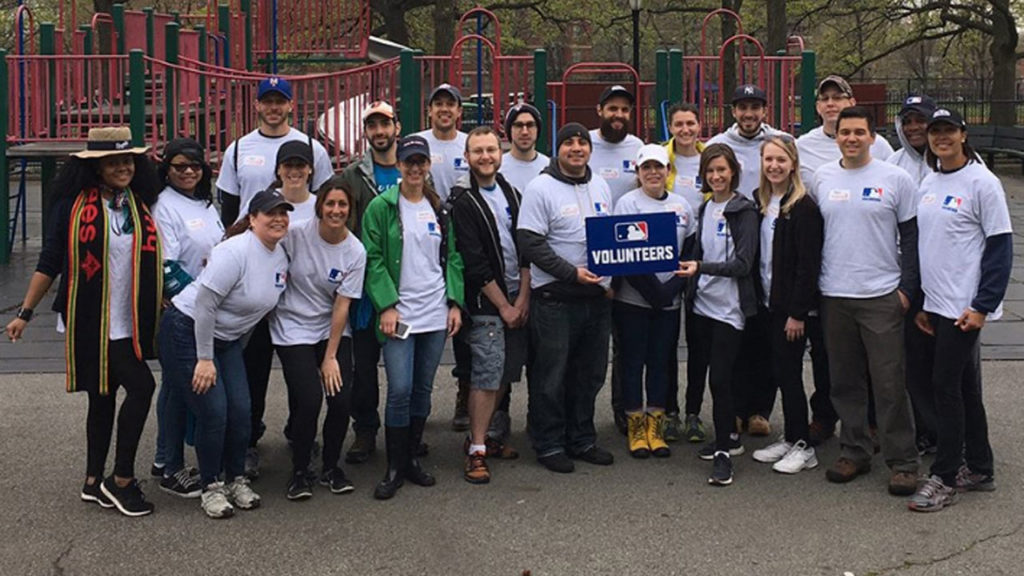 Employees at the Commissioner's Office, MLB Advanced Media and MLB Network volunteered at the New York Cares Spring Day at Lincoln Terrace Park in Brooklyn. (MLB.com)