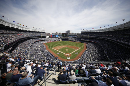 Birds-eye view of the new Yankee Stadium in the Bronx. Starting with recycled steel and concrete, and diversion of construction waste, the home of the Yankees has become one of Major League Baseball`s greenest operations. Photo courtesy The New York Yankees.