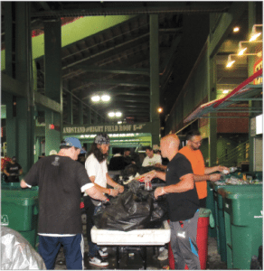 The nine waste sorts to date at Fenway Park in Boston have produced a total 56 percent landfill diversion rate, and one recent effort achieved 76 percent diversion.
