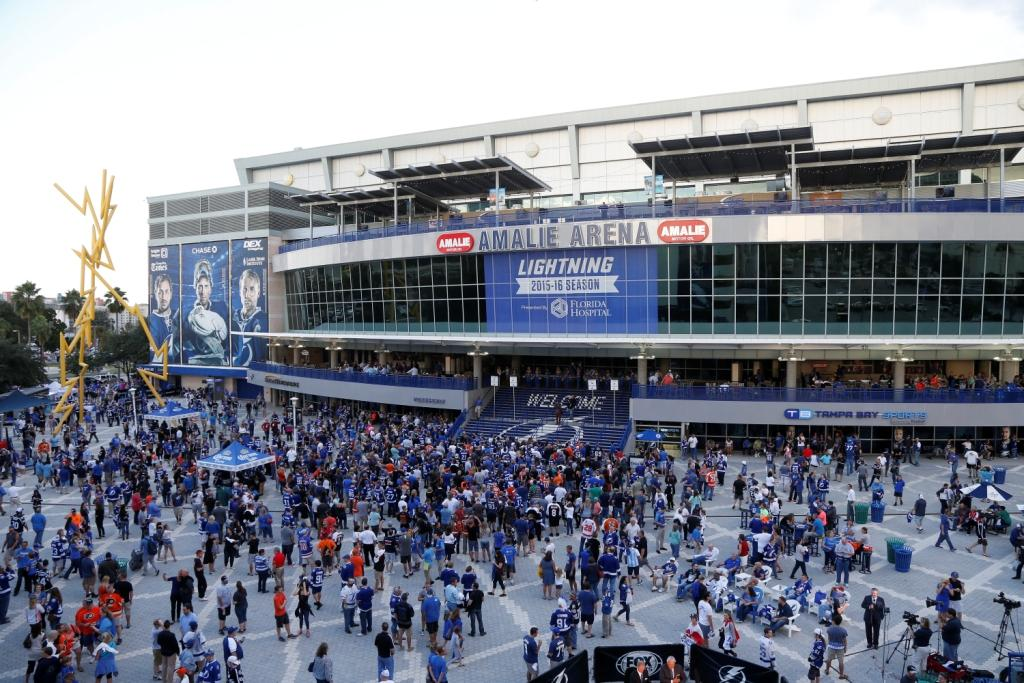 Tampa, FL. October 8, 2015- The Tampa Bay Lightning Opening Day at Amalie Arena.
