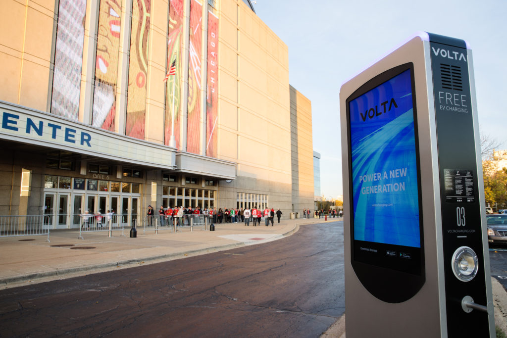Volta Free EV Charging Station at the United Center in Chicago, IL