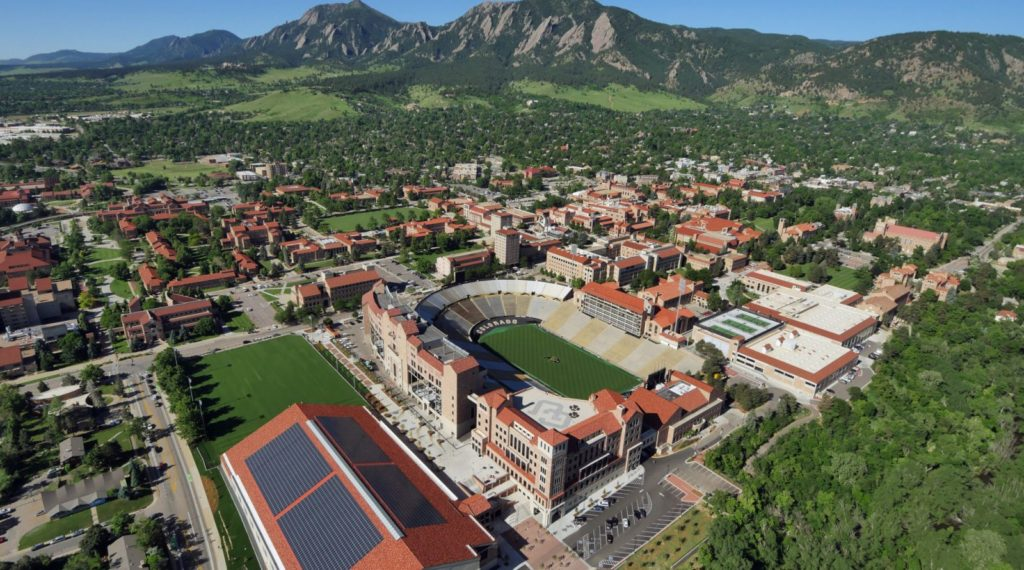 Solar array on top of the athletic practice facility taken during 2016 aerial photography over Boulder and the CU Bouder campus. (Photo by Glenn Asakawa/University of Colorado)