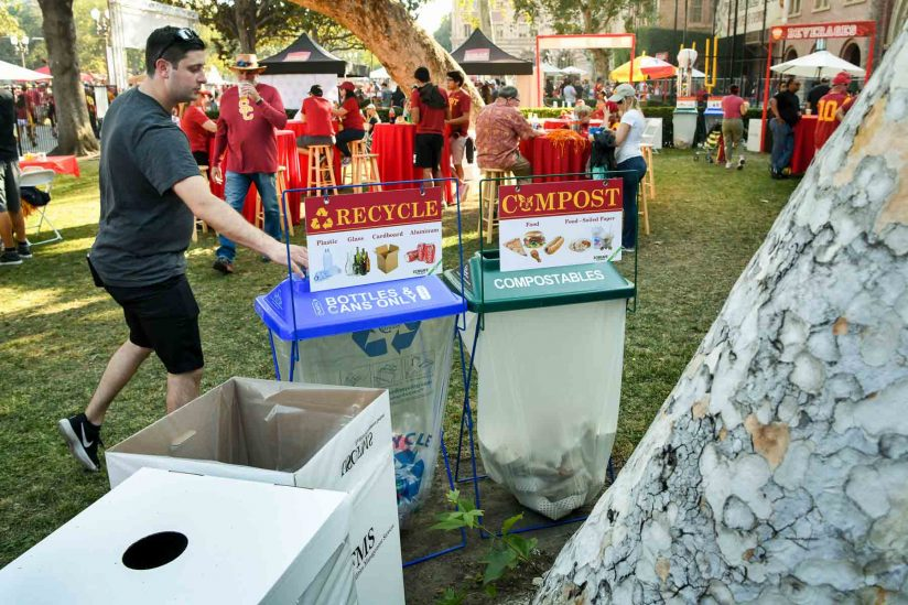 The Pac-12 announced that USC was the member university that diverted the most waste from the landfill during a game last fall. (USC Photo/Michael Owen Baker)