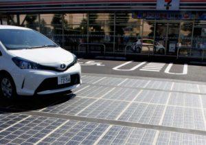 Solar panels at a parking lot in Kanagawa Prefecture, Tokyo. (Japan News-Yomiuri)