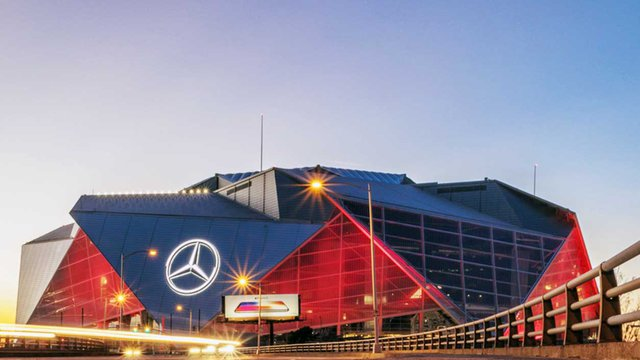 The Mercedes-Benz Stadium, in Atlanta, will be able to prevent 680,000 gallons of untreated rainfall to reach the sewers. Credit: istockphoto.com/MarilynNieves