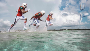 The University of Miami Hurricanes will take the field Sunday at LSU in eco-friendly alternate uniforms, thanks to a partnership with Adidas and Parley for the Oceans (Photo credit: Environmental Leader)