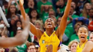 Los Angeles Sparks' Nneka Ogwumike celebrates her winning basket with about four seconds left as the Sparks beat the Minnesota Lynx 77-76 to win the WNBA basketball championship title in Game 5 on Oct. 20, 2016, in Minneapolis. Jim Mone/Associated Press