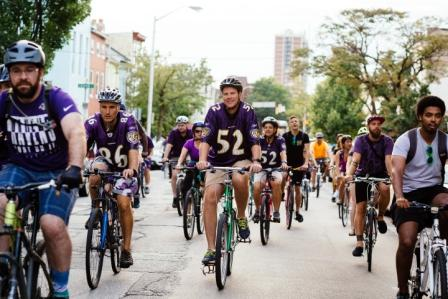August 25, 2017 Baltimore Ravens community sponsorship event, Baltimore Bike Party. Starting in St. Mary's Park in Seton Hill neighborhood, and ending at Ravens Stadium.