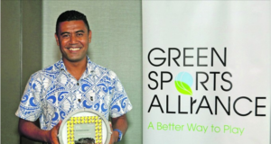 Dwain Qalovaki with the Green Sports Alliance 2018 Innovator of the Year award for advancing connections between sports and waste management by hosting the first Oceania Region Plastic Free tournament at Raka7s across staff, stadium venue, food vendors, fans and community. He received this award on June 27, in Atlanta in USA.