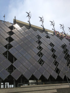 Solar array, topped by Eagle talon-shaped wind turbines at Lincoln Financial Field in Philadelphia. (Photo credit: Lewis Blaustein)